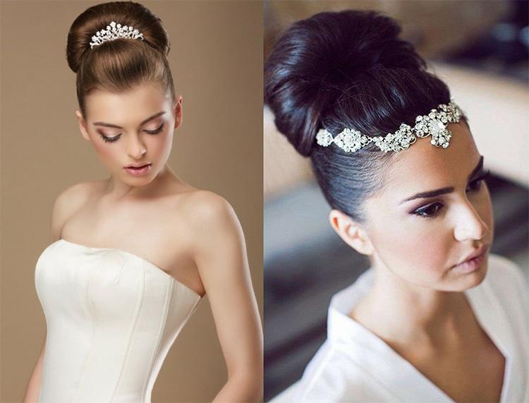 Una con il fermaglio che lo chiude… l altra con una tiara luccicosa che  raggiunge la fronte della sposa… Oppure senza nessun accessorio! 51554eb0e49d